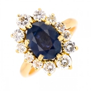 Bague marguerite saphir 2.73 carats et diamants 1.28 carat en or jaune
