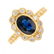 Bague marguerite saphir et diamants 0.36 carat en or jaune