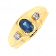 Bague saphir 0.60 carat et diamants 0.02 carat en or jaune