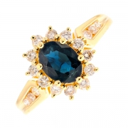 Bague marguerite saphir 1.20 carat et diamants 0.48 carat en or jaune