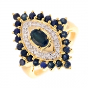 Bague navette saphirs 1.22 carat et diamants 0.12 carat en or bicolore
