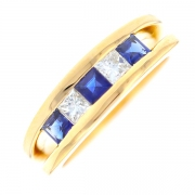 Demi-alliance diamants 0.30 carat et saphirs 0.30 carat en or jaune