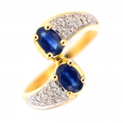 Bague saphirs 1 carat et diamants 0.20 carat en or bicolore
