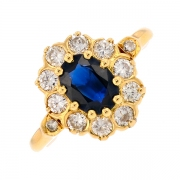 Bague marguerite saphir 1 carat et diamants 0.50 carat en or jaune