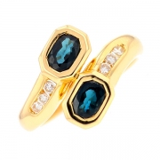 Bague saphirs 0.86 carat et diamants 0.12 carat en or jaune