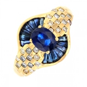 Bague saphirs 0.84 carat et diamants 0.26 carat en or jaune