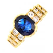 Bague saphir 2.53 carats et diamants 0.54 carat en or jaune