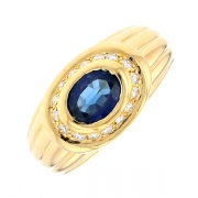Bague saphir 0.73 carat et diamants 0.16 carat en or jaune