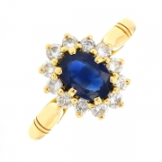 Bague marguerite saphir 0.48 carat et diamants 0.50 carat en or jaune