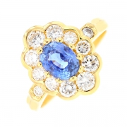 Bague marguerite saphir 1.10 carat et diamants 0.82 carat en or jaune