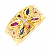 Bague saphirs, rubis et diamants en or jaune