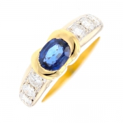 Bague saphir 1.15 carat et diamants 0.90 carat en or jaune