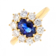 Bague marguerite saphir 1 carat et diamants 0.90 carat en or jaune