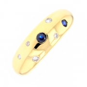 Bague jonc saphirs 0.08 carat et diamants 0.08 carat en or jaune
