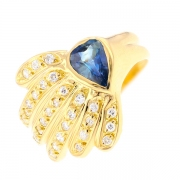 Bague saphir 0.60 carat et diamants 0.30 carat en or jaune