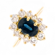 Bague marguerite saphir 1.05 carat et diamants 0.39 carat en or jaune