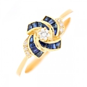 Bague saphirs 0.20 carat et diamants 0.14 carat en or jaune
