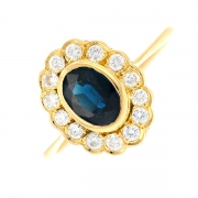 Bague marguerite saphir et diamants en or jaune