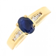 Bague saphir 0.56 carat et diamants 0.09 carat en or jaune