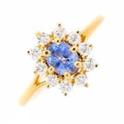 Bague marguerite saphir 0.85 carat et diamants 0.50 carat en or jaune