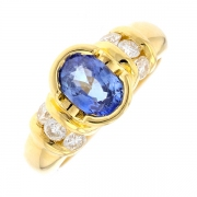 Bague saphir 1.05 carat et diamants 0.36 carat en or jaune