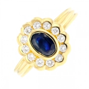 Bague marguerite saphir 0.32 carat et diamants 0.15 carat en or jaune