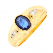Bague saphir 0.71 carat et diamants 0.09 carat en or jaune