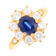 Bague marguerite saphir 1.22 carat et diamants 0.78 carat en or jaune