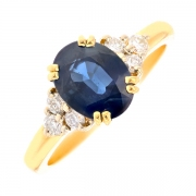 Bague saphir 2.36 carats et diamants 0.30 carat en or jaune