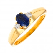 Bague saphir et diamants 0.10 carat en or jaune