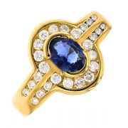 Bague diamants 0.65 carat et saphir en or jaune