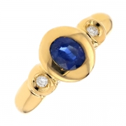 Bague saphir 0.68 carat et diamants 0.10 carat en or jaune