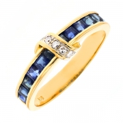 Bague saphirs 0.60 carat et diamants en or jaune