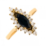Bague marquise saphir et diamants 0.40 carat en or jaune