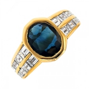 Bague saphir 2.50 carats et diamants 1.20 carat en or jaune