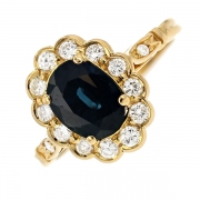 Bague marguerite saphir 2 carats et diamants 0.60 carat en or jaune