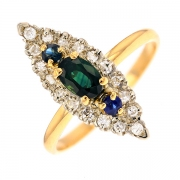 Bague marquise saphirs 0.70 carat et diamants 0.10 carat en or bicolore