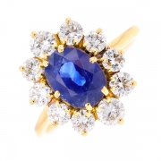 Bague marguerite saphir 2.45 carats et diamants 1.25 carat en or jaune