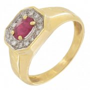 Bague rubis 0,60 carat et diamants 0,14 carat en or jaune