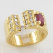 Bague Bandeau Or Jaune, Rubis Ovale & Diamant Taille Moderne