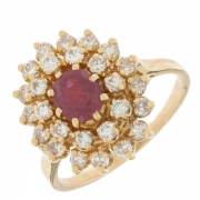 Bague marguerite rubis 0,55 carat et diamants 0,52 carat en or jaune