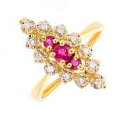 Bague marquise rubis 0.40 carat et diamants 0.12 carat en or jaune