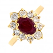 Bague marguerite rubis 1.10 carat et diamants 1 carat en or jaune