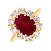 Bague marguerite rubis 2.50 carats et diamants 1.10 carat en or jaune