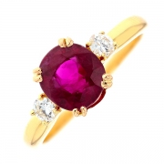 Bague rubis et diamants 0.24 carat en or jaune