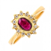 Bague marguerite rubis et diamants 0.12 carat en or jaune