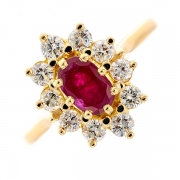 Bague marguerite rubis et diamants 0.70 carat en or jaune