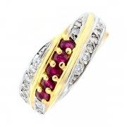 Bague rubis 0.35 carat et diamants 0.16 carat en or bicolore