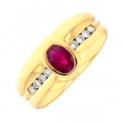 Bague rubis 0.50 carat et diamants 0.40 carat en or jaune
