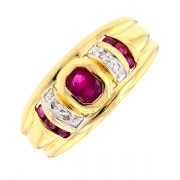 Bague rubis 0.40 carat et diamants 0.02 carat en or bicolore